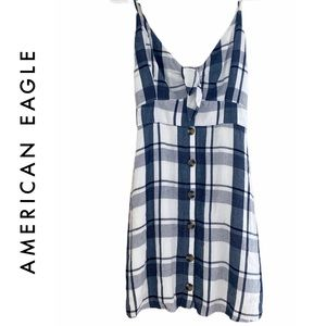 American Eagle Navy Plaid Tie Front Strappy Dress